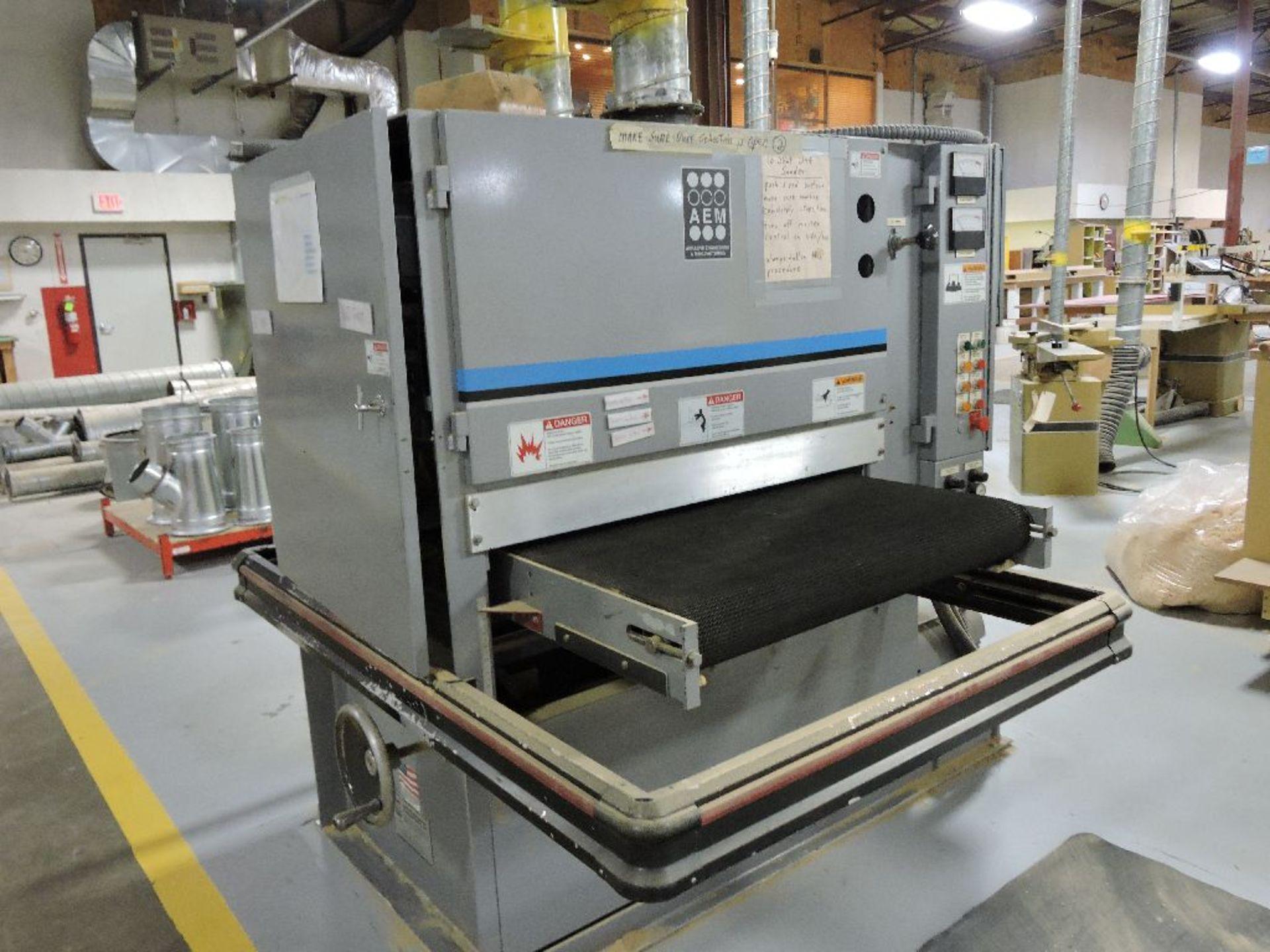 "Lot 006 - AEM belt sander, model 402-37, sn 00100, 36"", MO6930, 20 hp. - 15 hp. dual drum, 2 head wide"