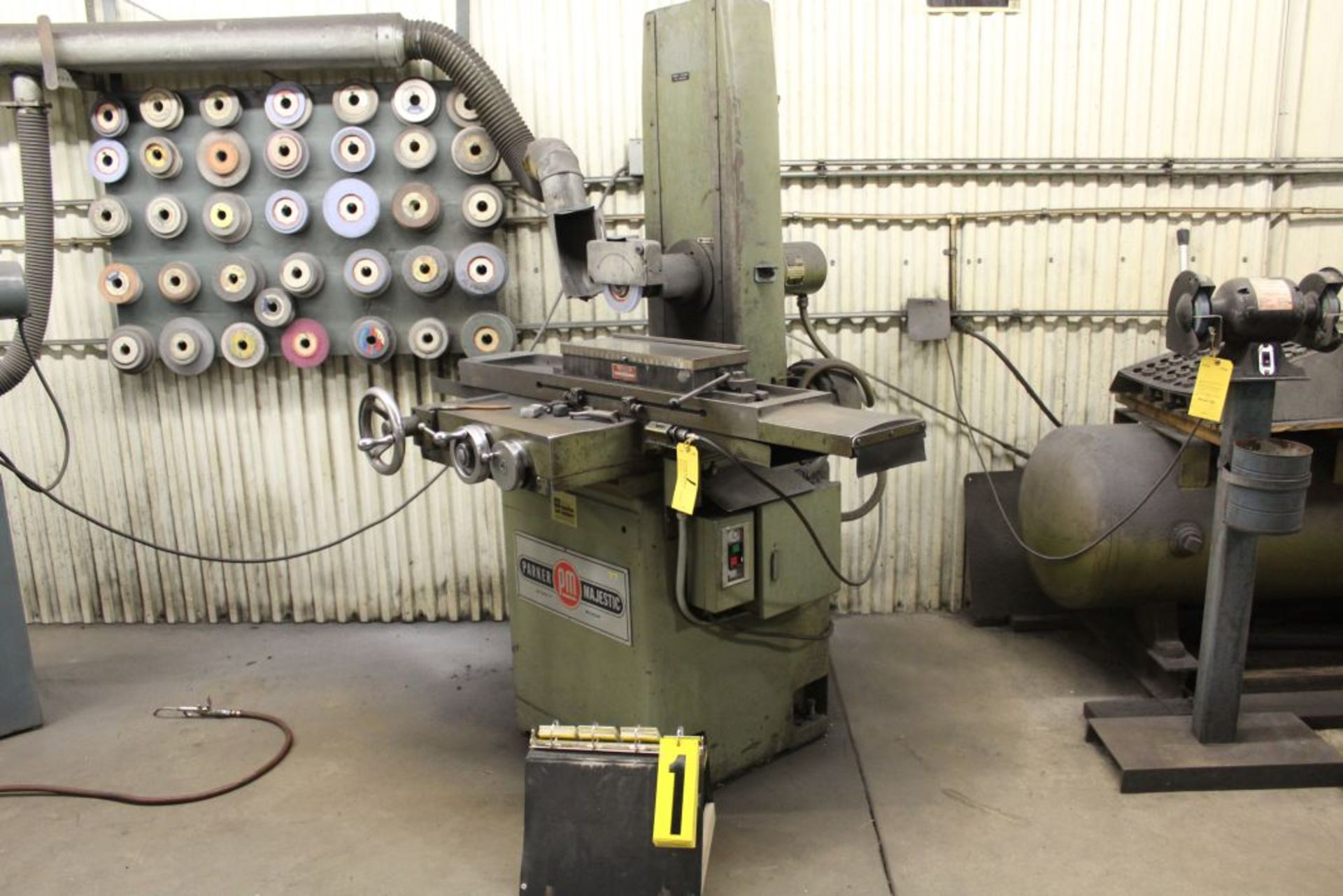 "Lot 001 - Parker Majestic surface grinder, model 1209-8, sn 43106, 6"", w/magnetool, 6"" x 18 table."