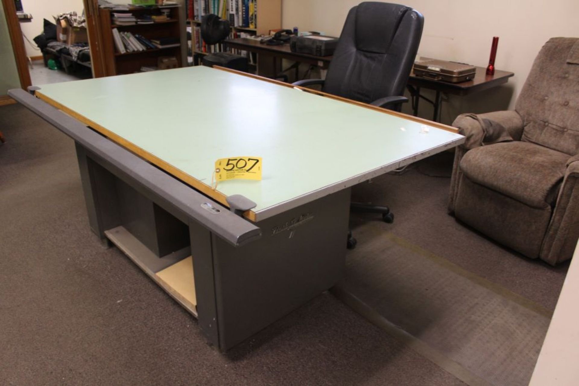 Lot 507 - Desk O Matic II layout desk, file with chair.