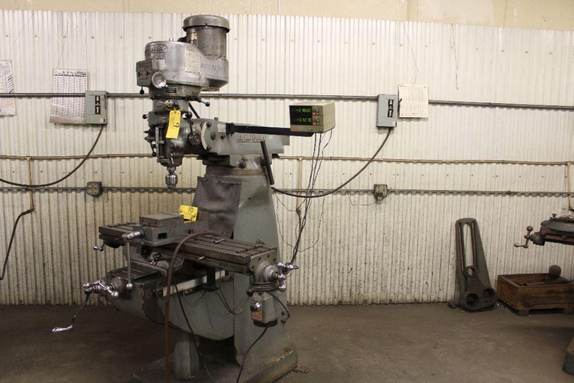 Lot 009 - Bridgeport vertical mill Series II, 2 hp, model 12BR, sn 193456, power feed, Mitutoyo digital