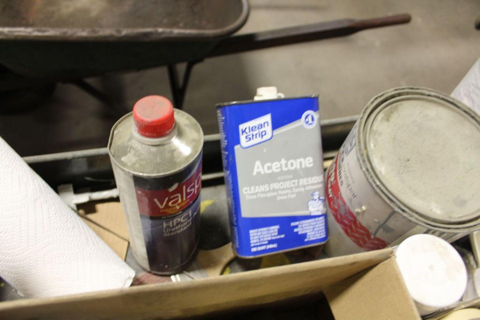 Lot 434 - Job cart with contents, auto body paint, spray gun, etc.