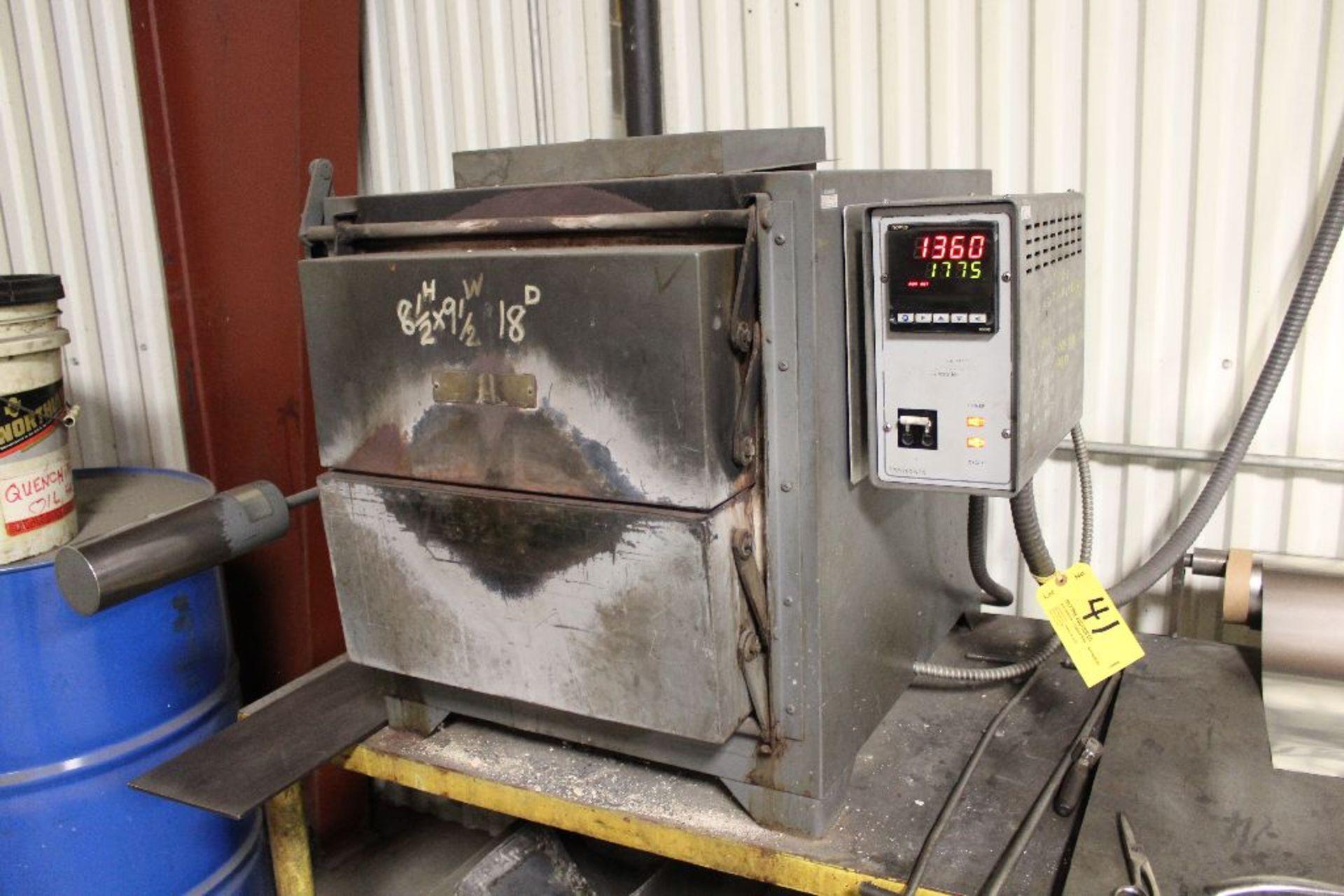 "Lot 041 - Thermolyne electric heat treat furnace, model FA1748-1, sn 85920918992, 8""x10""x18"", 240 volts, 7,900"