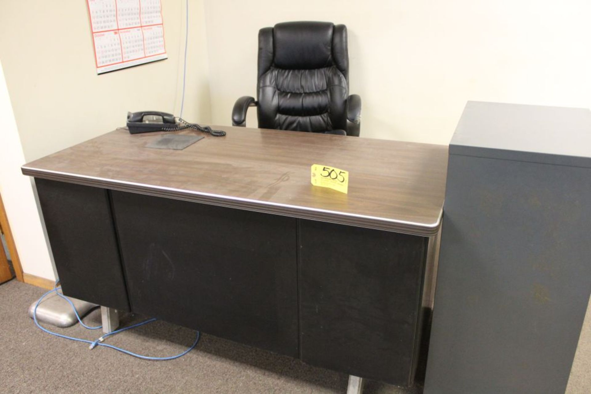 Lot 505 - Steel desk with chair.