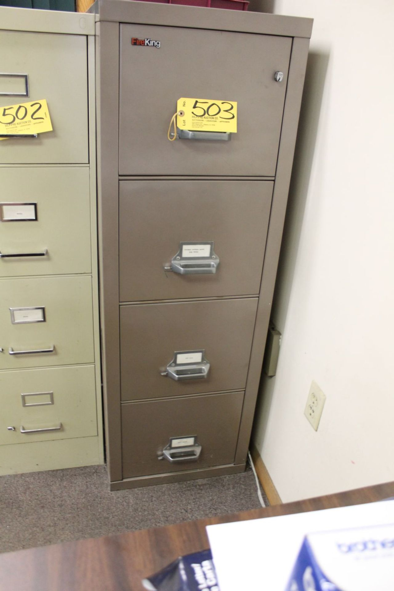 Lot 503 - Fire King file cabinet, 4 drawer.
