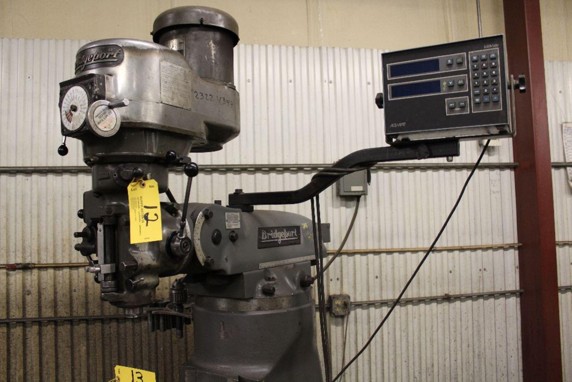 Lot 012 - Bridgeport vertical mill model V2, sn V2ES199, 2 hp, Acu-rite, digital readout model mill mate.