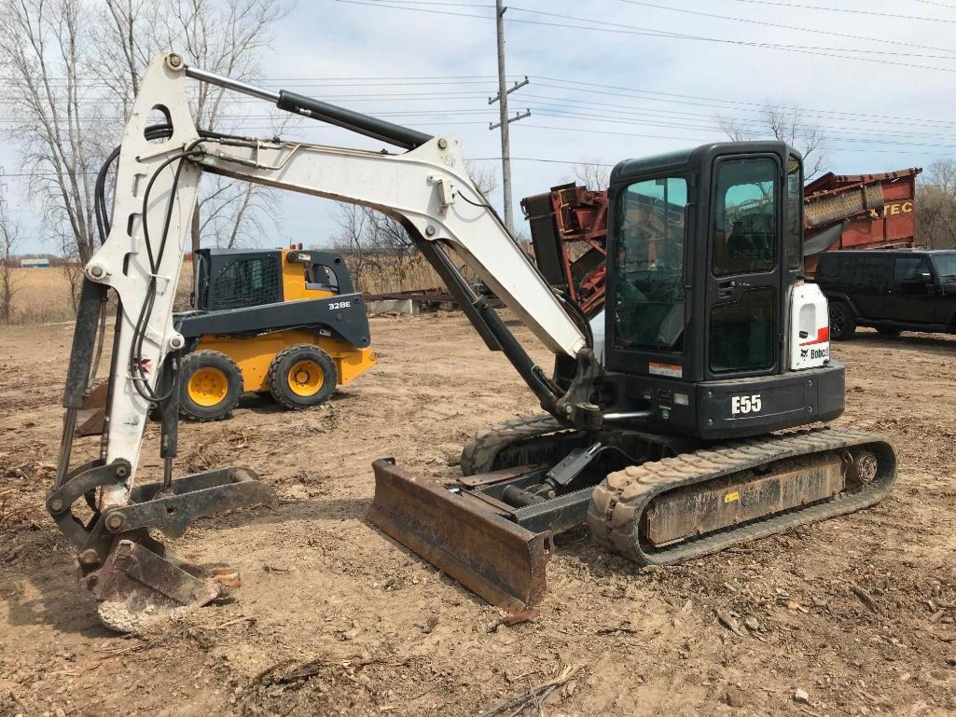 "Lot 2 - Bobcat Model E55 Midi Excavator S/N: AJ1911839 (2016) 12"" Digging Bucket, Hydraulic Thumb, Aux. Hyd."