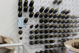 Approximately 4'x32' pegboard w/ clips and thread