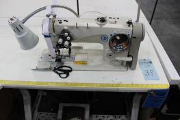Juki model LH-3578A two needle sewing machine s/n 8L3JK00549 w/Sewing Table