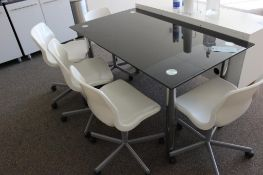 """55"""" x 31"""" glass top table w/(5) chairs & cabinet"""