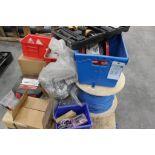 pallet of hardware; partial socket set & Bostitch model BTFP12233 18 gauge air gun
