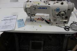 Juki model LZ-2280A sewing machine s/n 8L2GH11259 (est.) w/Sewing Table