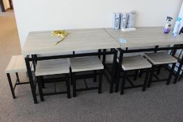 "(2) 27"" x 43"" table w/ 8 stools"