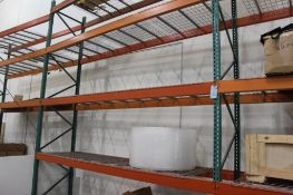 """(3)-sections pallet racking 16' x 42"""" x 13' consisting of (24)-13' crossbars and (4)- 16'x42"""" uprigh"""