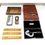 "M&W No.400 6"" Precision Ground Square, Flute Micrometer, Starrett Blade Depth Micrometer, 1"" Point"