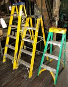 4-Fiberglass Ladders- Sizes: (2) 6' & 4' & 3'