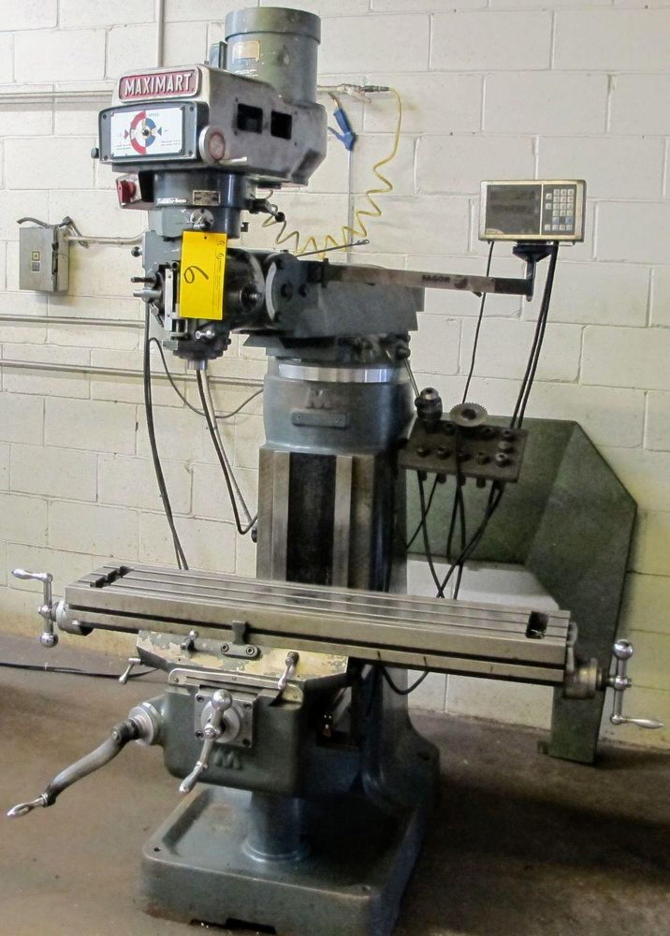 MAXIMART 1-1/2 VS VERTICAL MILLING MACHINE, 455-4300 RPM, S/N 95388, FAGOR 2 AXIS DRO, COLLET SET