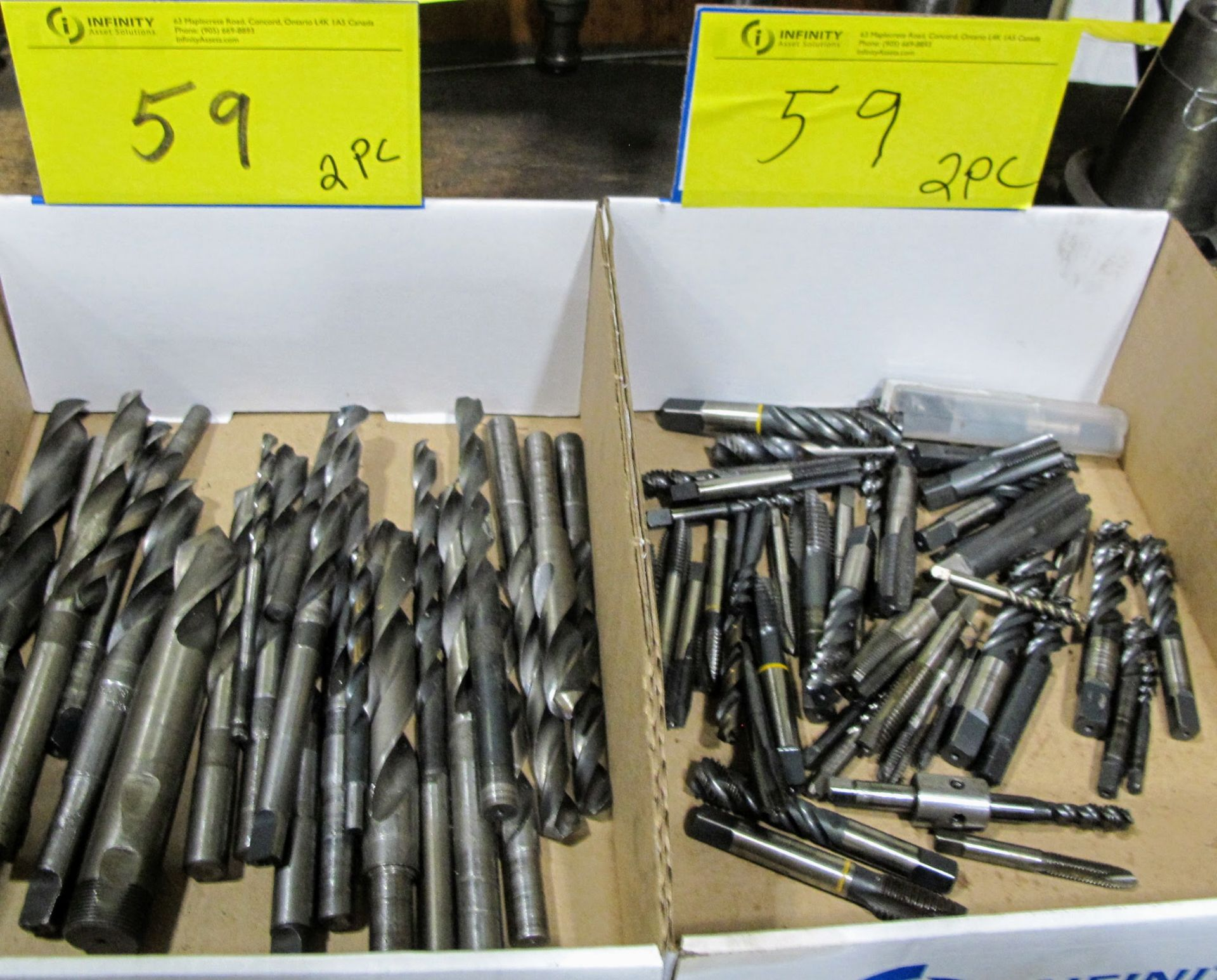 Lot 59 - LOT OF 2 BOXES OF HIGH SPEED DRILLS AND TAPS