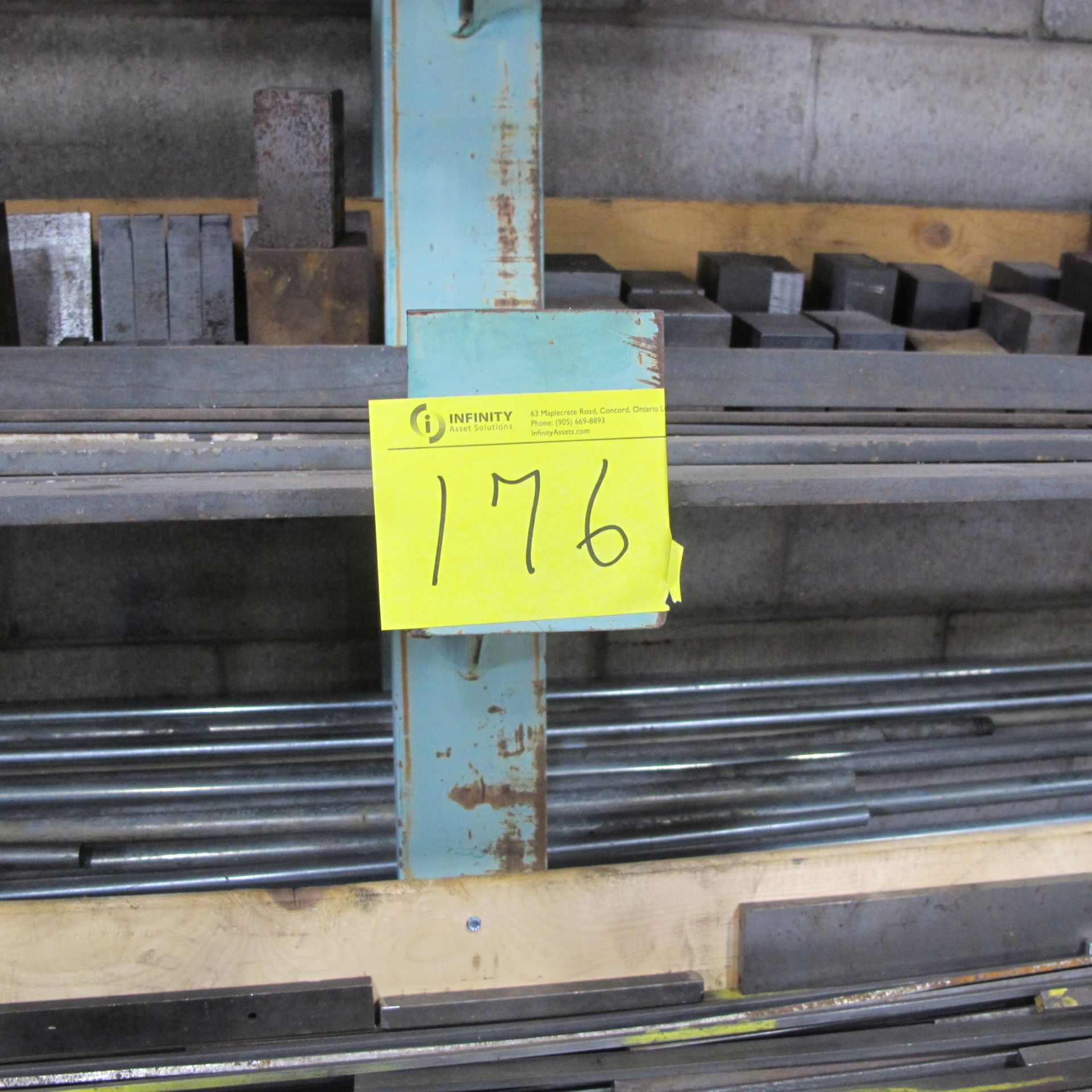 """Lot 176 - CANTELIVER STEEL RACK 6 LEVELS W/BAR AND CHANNEL STOCK (STEEL, STAINLESS STEEL, ALUMINUM) 36""""D X 8'T"""
