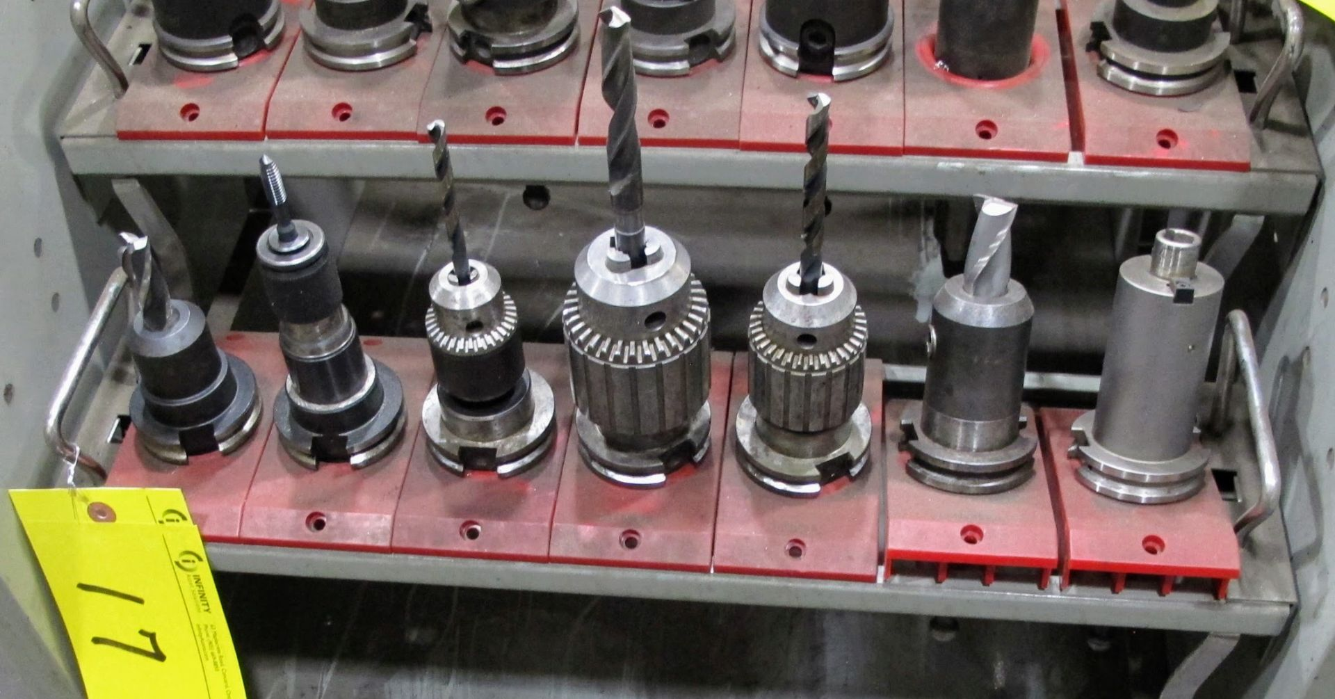 Lot 17 - LOT OF 7 CAT 40 TOOL HOLDERS W/ATTACHMENTS