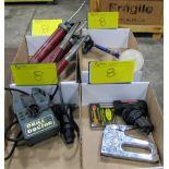 LOT OF 4 BOXES OF DRILL DOCTOR SHARPENER, WELLER SOLDERING GUN, STAPLER, HULP PAINT GUN AND GREASE