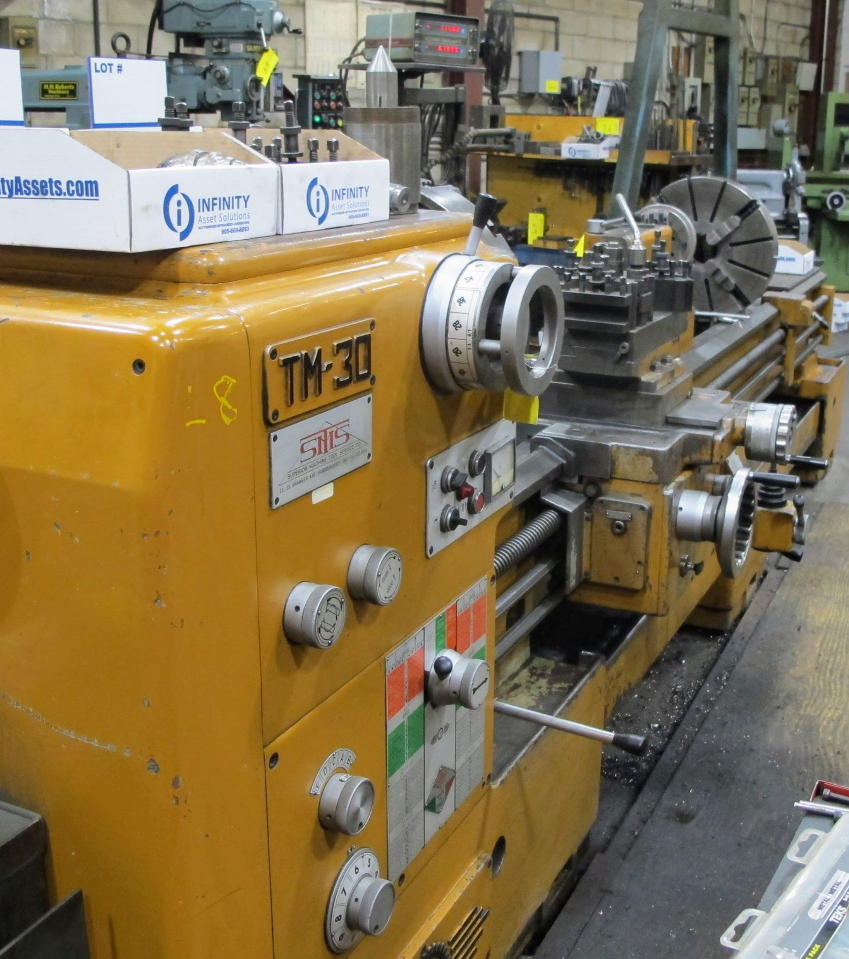 """Lot 74 - PBR TM-30 LATHE, 2-AXIS DRO, 12"""" 3-JAW CHUCK, 12' BED, 15 - 1,500 RPM, QUICK CHANGE TOOL HOLDER,"""