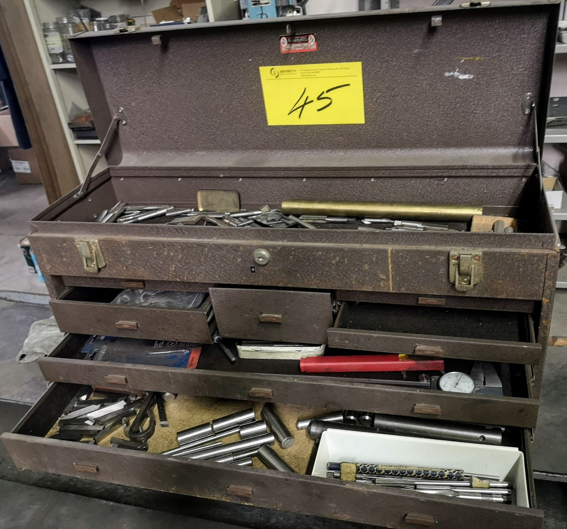 Lot 45 - KENNEDY KIT TOOLBOX W/ TAPS, REAMERS, ETC.