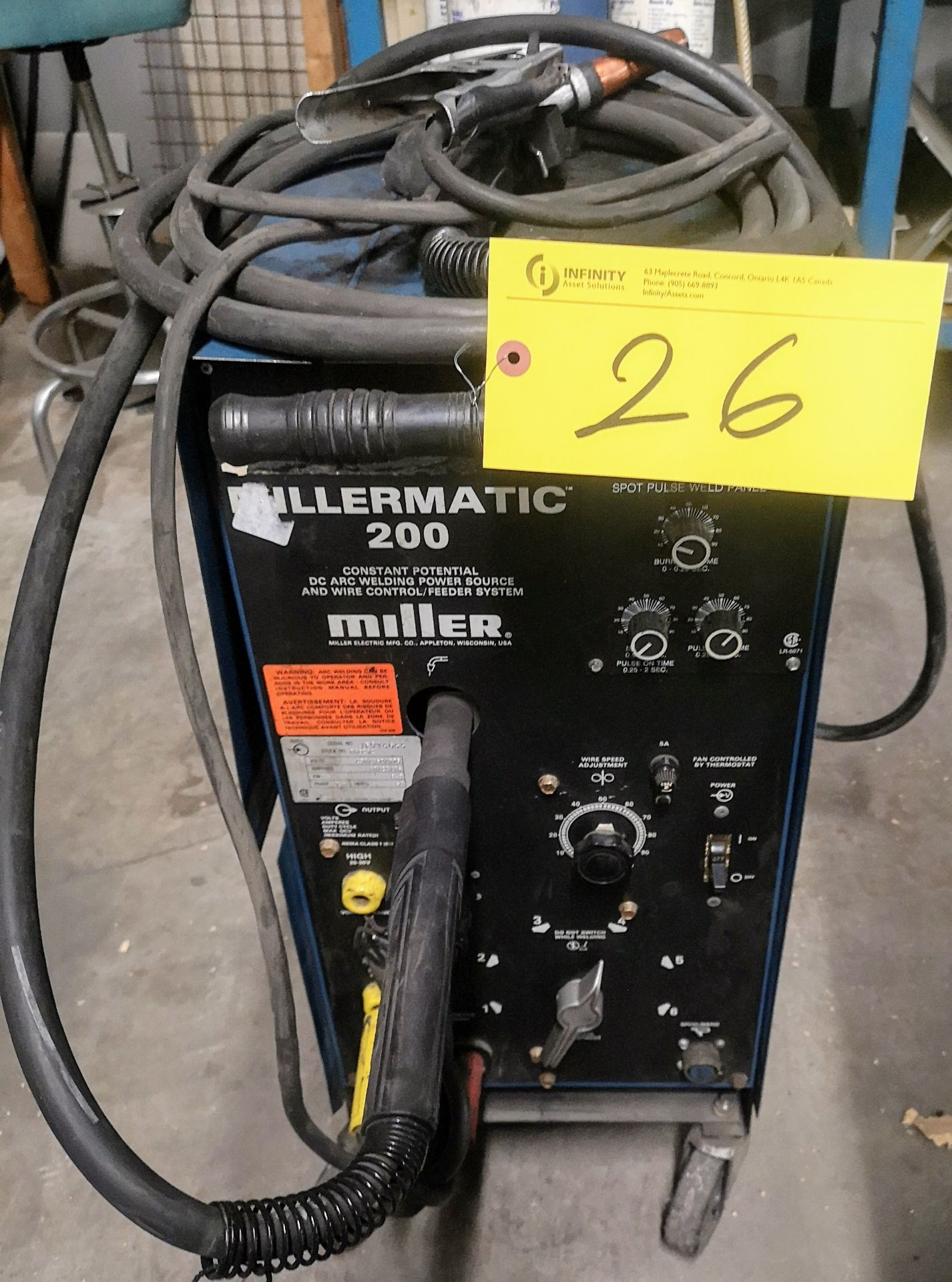 Lot 26 - MILLER MILLERMATIC 200 SKP35 DC ARC WELDER, S/N JF914666