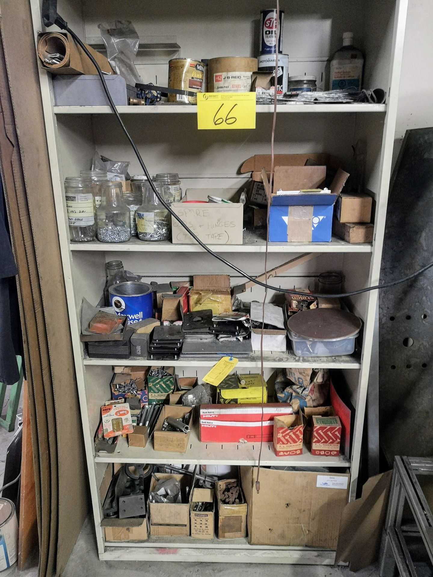 Lot 66 - LOT CONTENTS OF (2) CABINETS, GRINDING/CUTTING DISCS, NUTS, BOLTS, ETC.