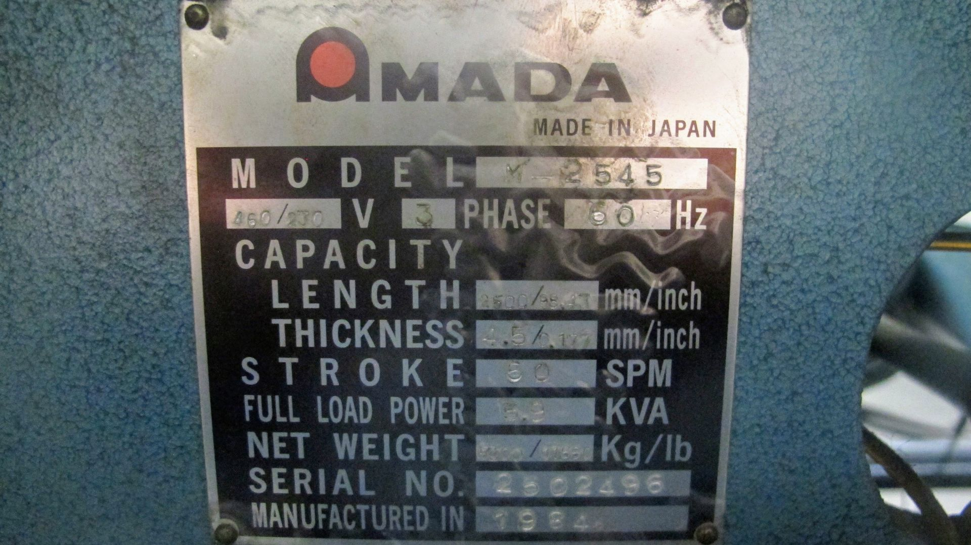 "Lot 11 - AMADA M-2545 POWER SHEAR, 3/16"" X 96"" CAP., 60 SPM, S/N 2502496, 3 PHASE, 5.9KVA FULL LOAD"