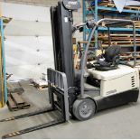 """2013 CROWN SC5245-40 3-WHEEL ELECTRIC FORKLIFT, 4,000LB CAP., 3-STAGE MAST, 208"""" MAX LIFT, SIDE"""