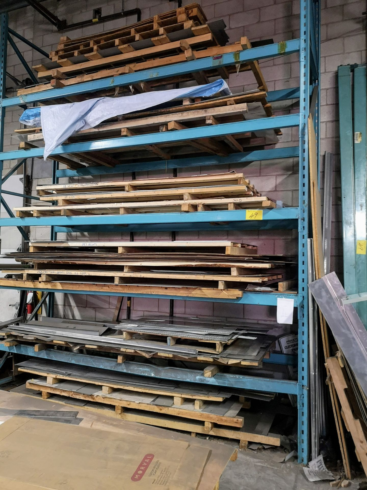 "Lot 49 - LOT ASST. PALLET RACKING W/ (6) UPRIGHTS 16' X 42"" W/ (40) CROSSBEAMS 12' X 4"" AND (10) CROSSBEAMS"