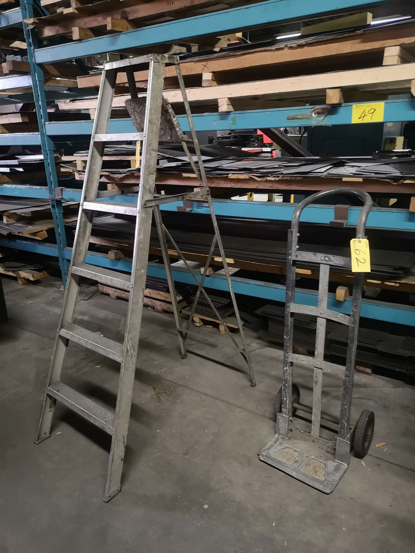 Lot 62 - ALUMINUM STEP LADDER, 2-WHEEL DOLLY, VACUUM CLEANER