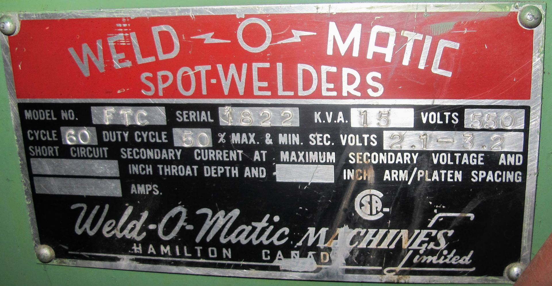 "Lot 24 - WELD-O-MATIC FTC SPOT WELDER, 15KVA, 12"" THROAT, S/N 1822"
