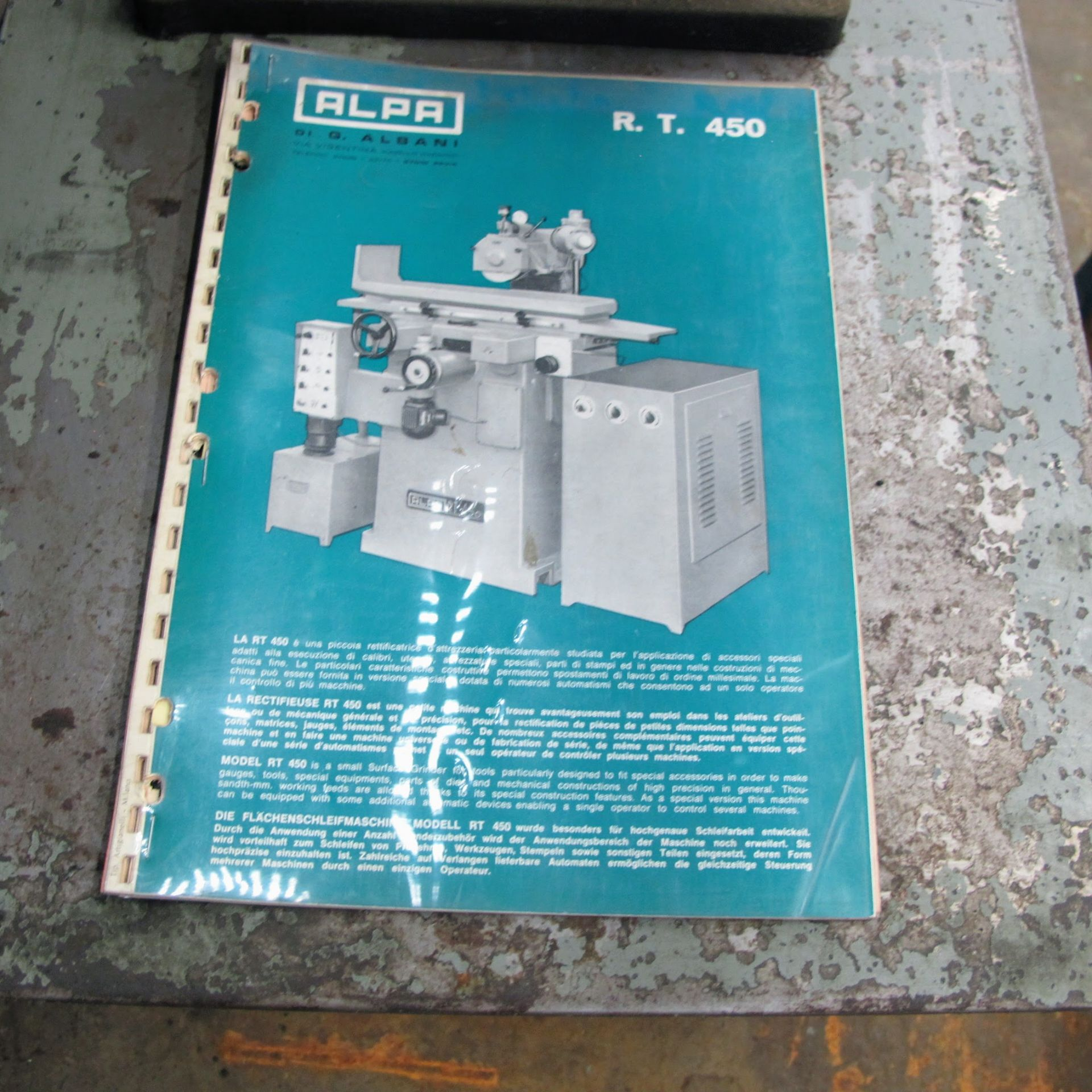"""Lot 21 - ALPA R.T. 450 AUTOMATIC SURFACE GRINDER W/CONTROL PANEL, BALANCER, 18"""" X 6"""" MAGNETIC SURFACE"""