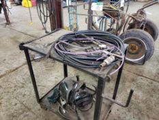 STEEL CART W/SPRAY GUN AND HOSE, FACE SHIELDS