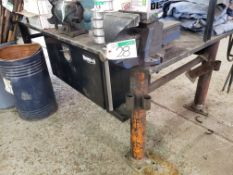 "STEEL SHOP TABLE 4' X 8' X 1"" W/#6 GRAY TOOLS VISE"