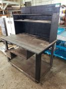 STEEL FRAME MOBILE SHOP TABLE W/SHELF