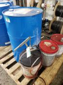 NEW DRUM OF CHEVRON HYD OIL AW32, 2 PAILS OF MEGAFLOW/AW HYD. OIL 22 ATF LUBE DISPENSER