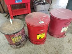 3 CANS JUSTRITE OILY WASTE