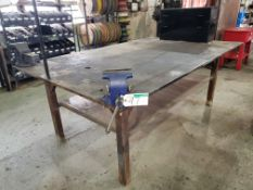 "STEEL SHOP TABLE 8'2""X5'X1"" W/JET 6"" VISE, RECORD #6 VISE"