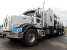 2015 PETERBILT 367 TRI DRIVE HYDRO VAC TRUCK, 148,044 KM., CUMMINS ISX15, 550 HP, ENGINE BRAKE,