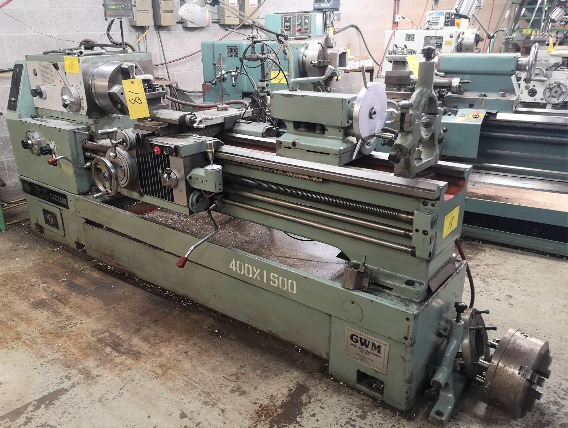 "Lot 18 - GWM CA6240B Lathe, 20"" x 60"", 12"" Chuck, 3"" Bore, Mitutoyo 2-Axis DRO, Speeds to 1,680 RPM,"