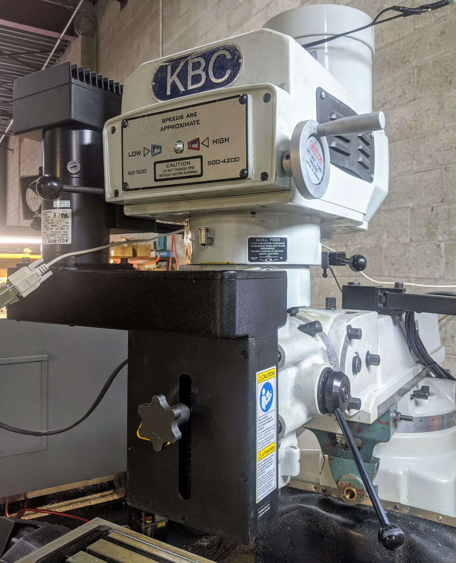 "Lot 26 - 2015 KBC TUM-3VS CNC Vertical Mill, Acu-Rite G2 CNC Control, R8, 10"" x 54"" Table, 3HP, 60 – 4,200"