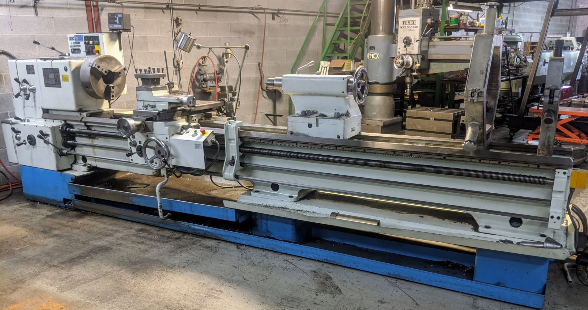"""Lot 15 - TOS SN71C Lathe, 28"""" x 120"""", Mitutoyo 2-Axis DRO, 16"""" 3-Jaw Chuck, 3"""" Bore, Speeds to 1,000 RPM,"""