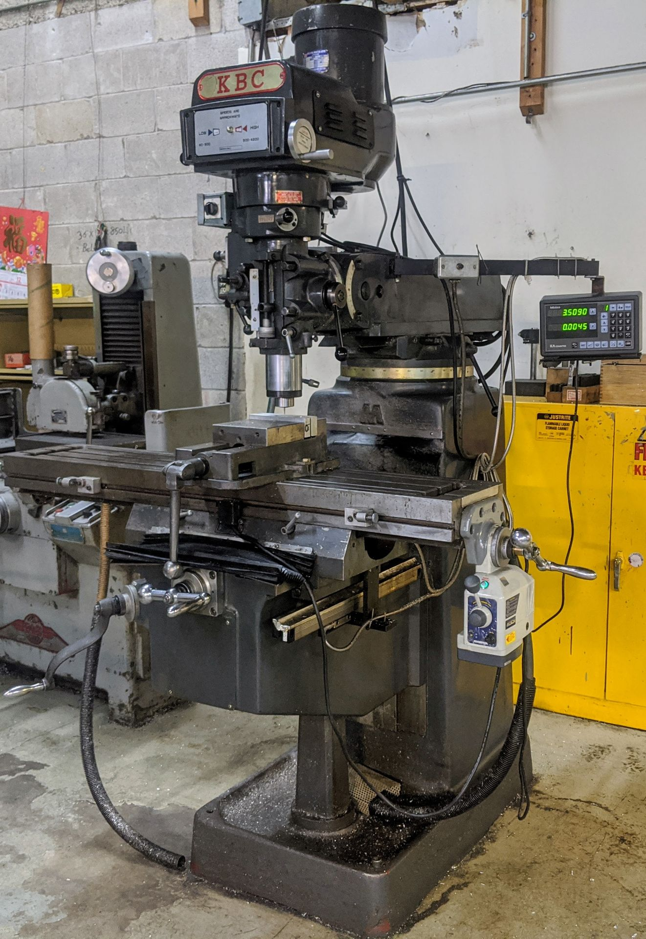 "Lot 32 - KBC Vertical Mill, Mitutoyo 2-Axis DRO, 10"" x 50"" Table, 3HP, 60 – 4,200 RPM, Align Power Feed"