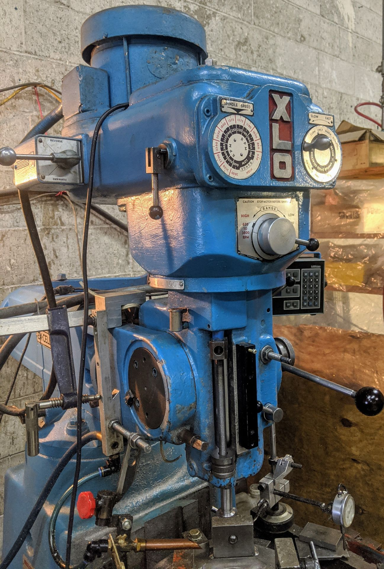 """Lot 34 - EX-CELL-O 602 Vertical Mill, Acu-rite 2-Axis DRO, 9"""" x 42"""" Table, Speeds to 3,800 RPM, Align Power"""