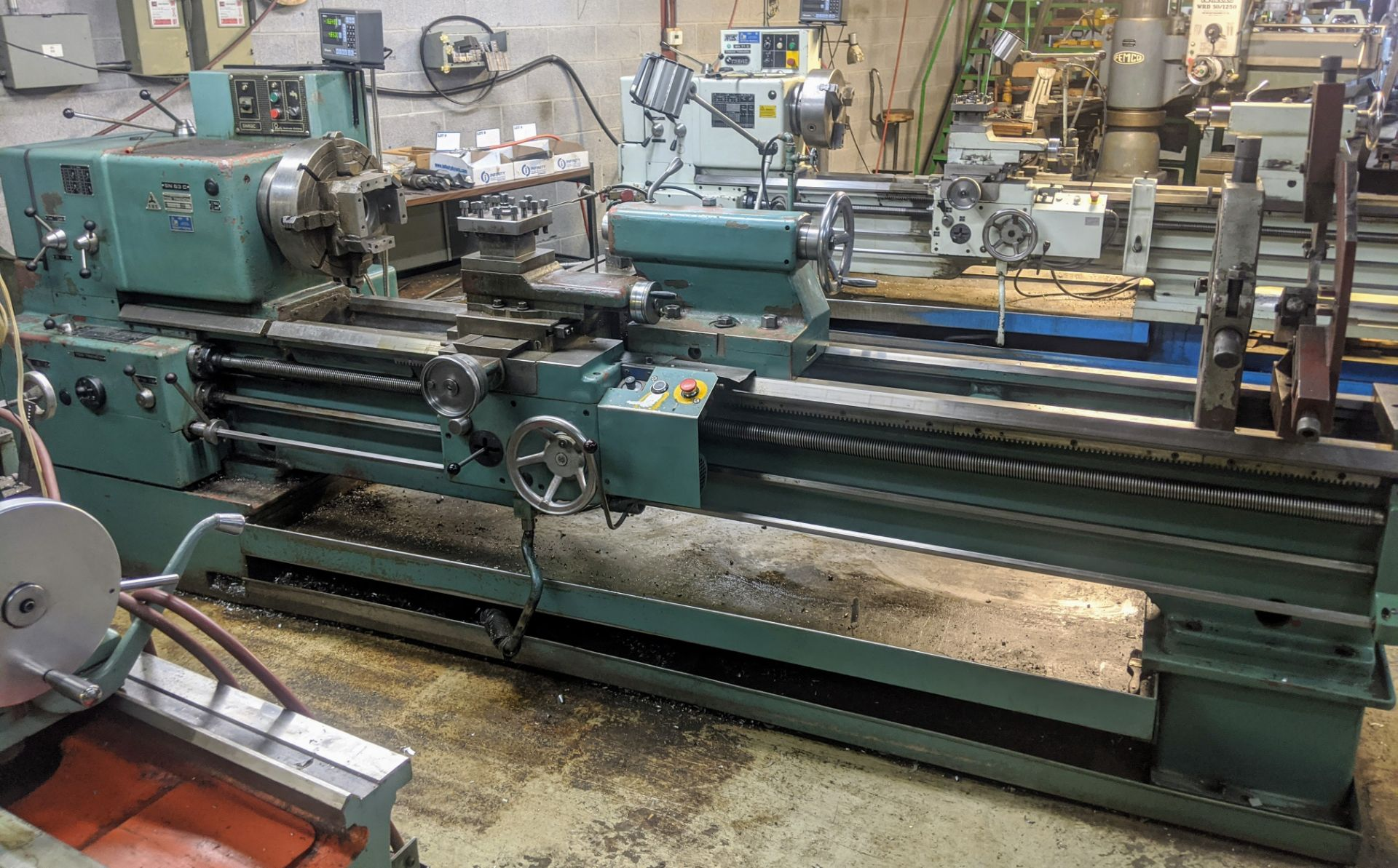 "Lot 16 - TOS SN63C Lathe, 25"" x 80"", Mitutoyo 2-Axis DRO, 16"" 4-Jaw Chuck, 4"" Bore, Speeds to 1,000 RPM,"