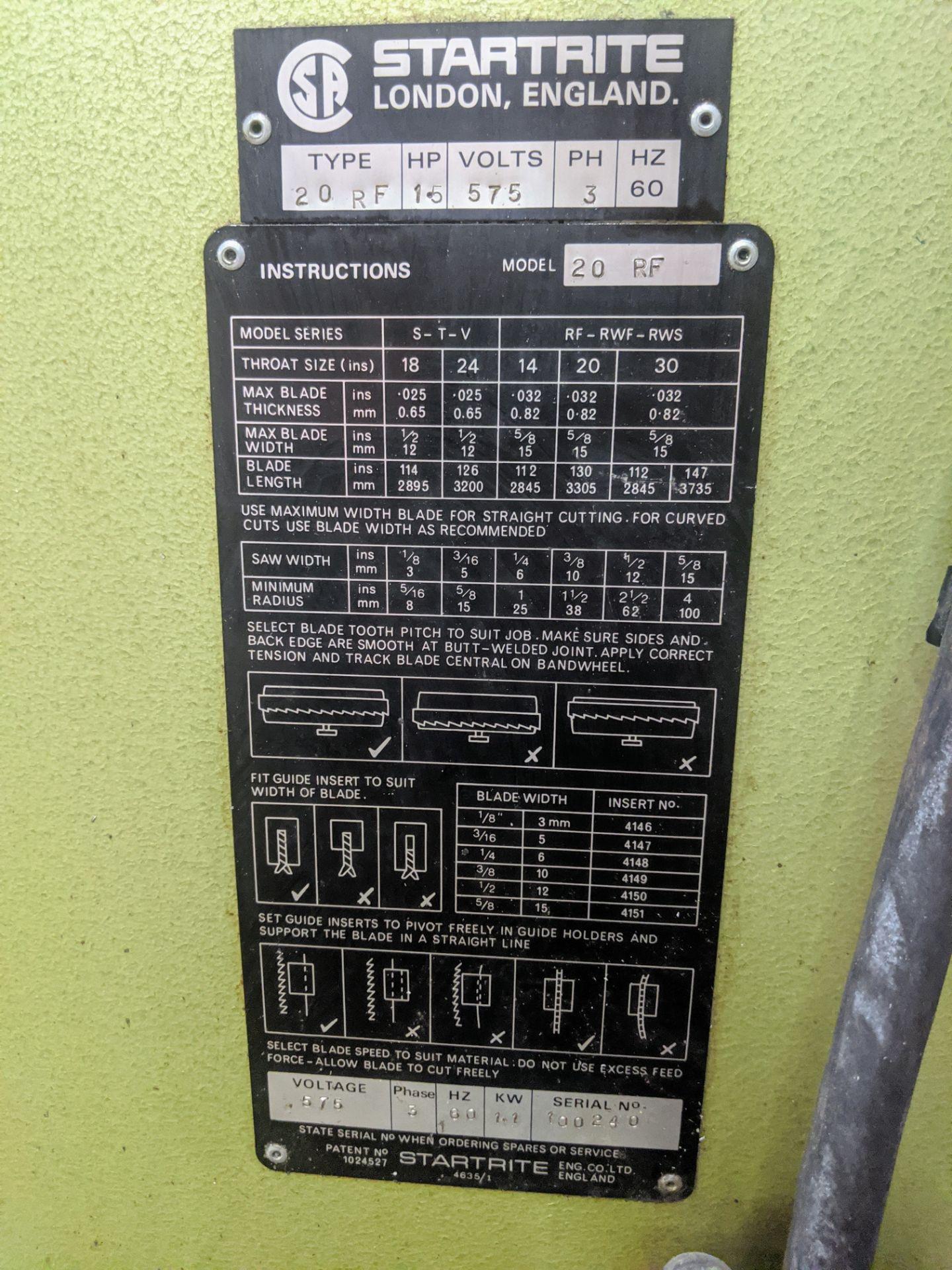 "Lot 10 - STARTRITE 20RF VERTICAL BANDSAW, 20"" THROAT, S/N 100240, 1.5HP"