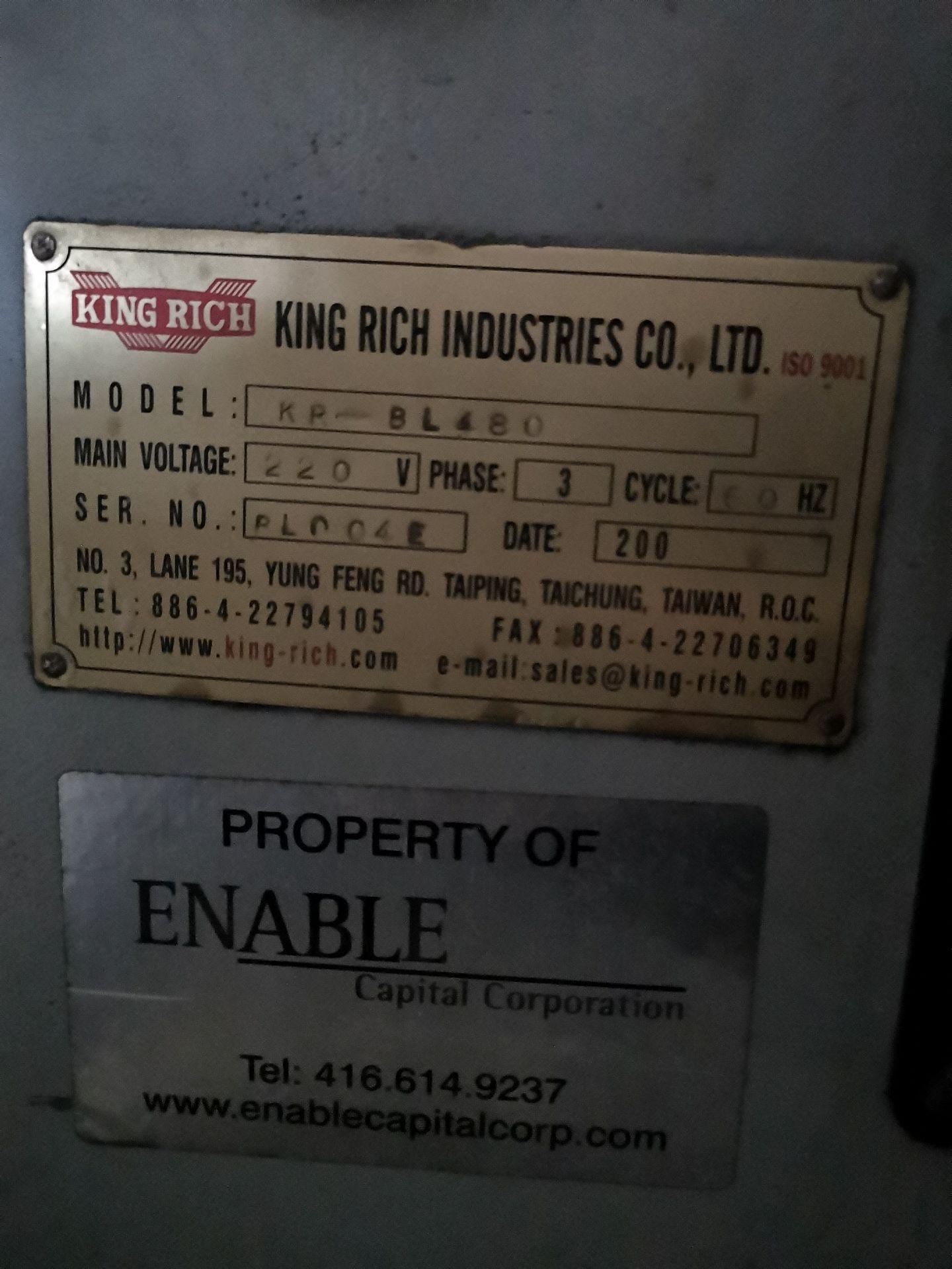 "Lot 17 - KING RICH (DARBERT) CNC KR-BL480 Teach lathe, 20"" x 80"", s/n BL004E, 15 – 2500 rpm, 3-1/4"" Spindle"