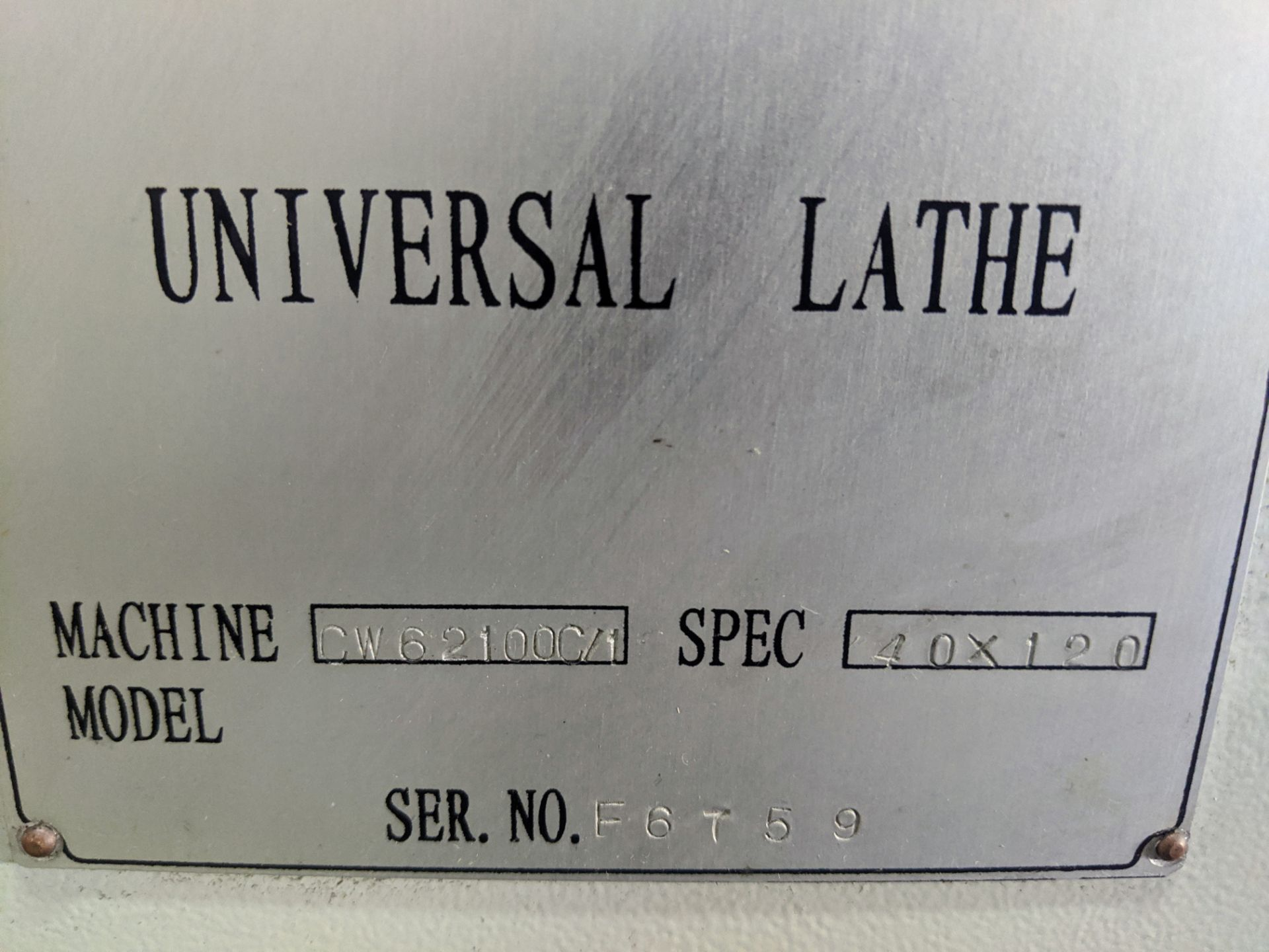 "Lot 13 - 2010 DMTG CW62100C/1 Lathe, 40"" x 120"", 25"" 4-Jaw Chuck, 5"" Bore, Speeds to 1,000 RPM, Tool Post,"
